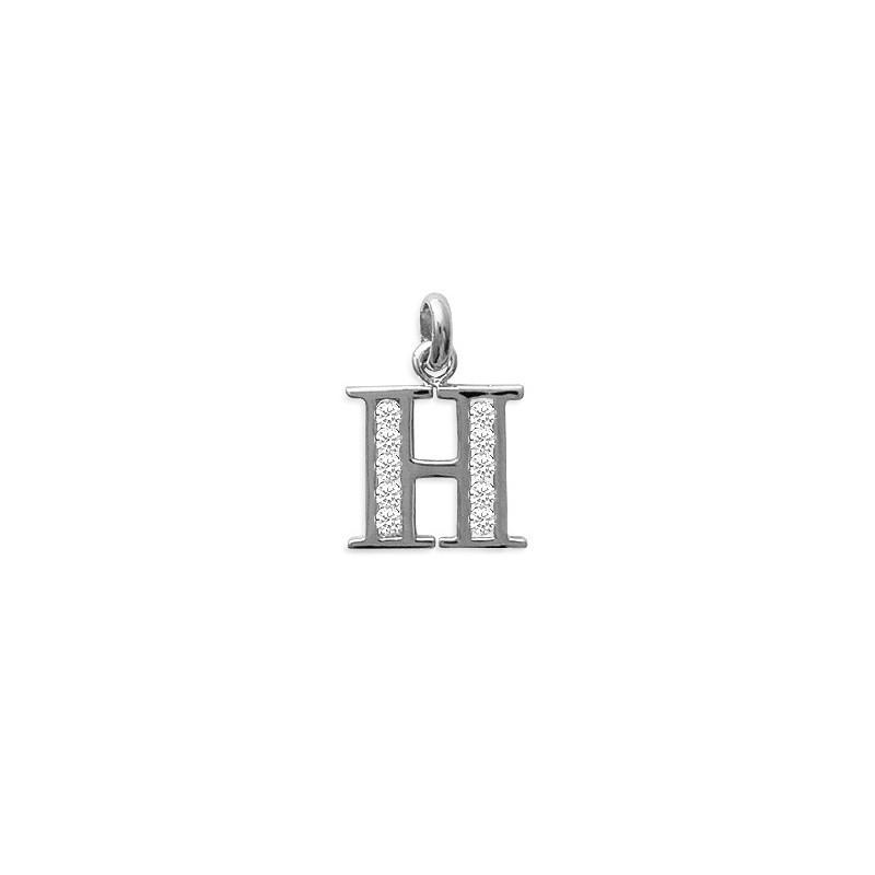 Pendentif lettre H et zirconiums argent - La Petite Française