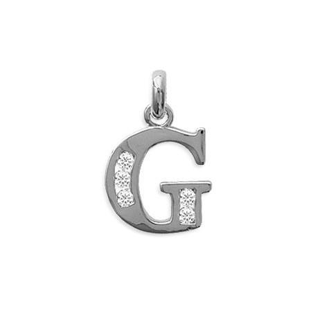 Pendentif lettre G et zirconiums argent - La Petite Française