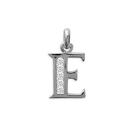 Pendentif lettre E et zirconiums argent - La Petite Française