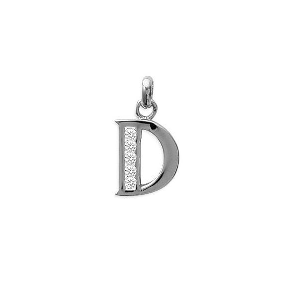 Pendentif lettre D et zirconiums argent - La Petite Française