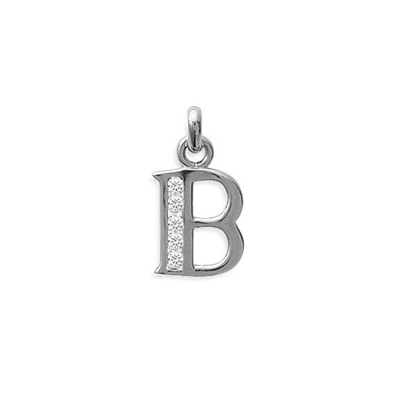 Pendentif lettre B et zirconiums argent - La Petite Française