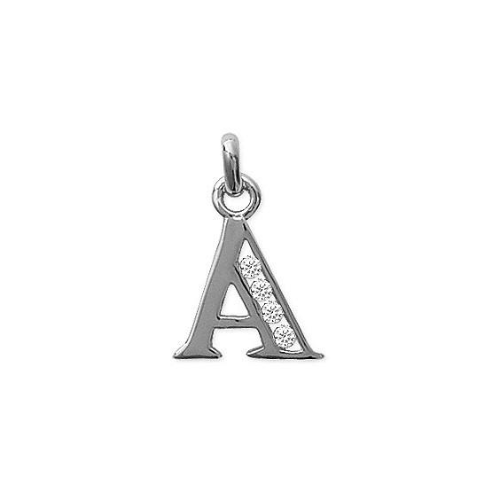 Pendentif lettre A et zirconiums argent - La Petite Française