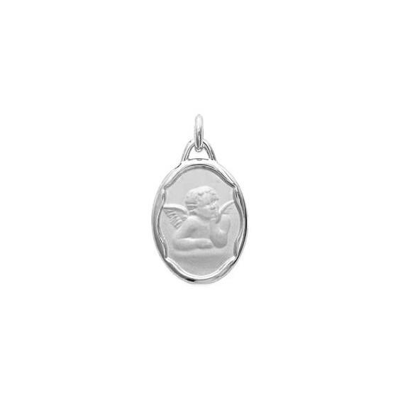 Médaille Ange de Raphaël ovale argent - La Petite Française