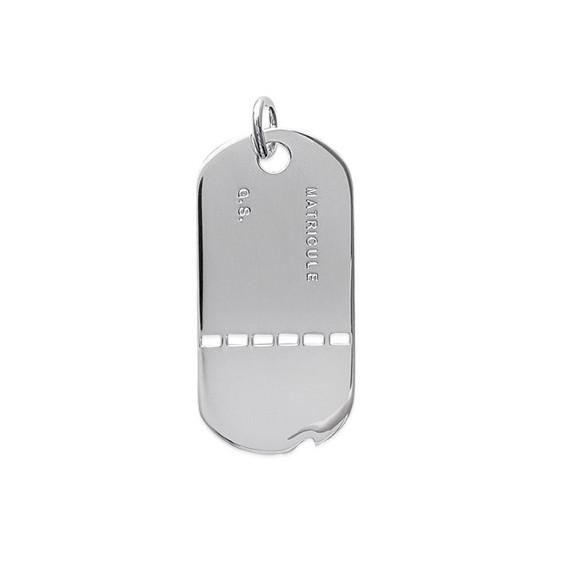 Pendentif plaque militaire GI argent - La Petite Française