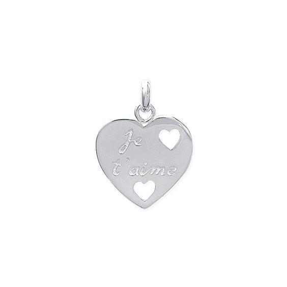 """Pendentif coeur """"je t'aime"""" argent - La Petite Française"""