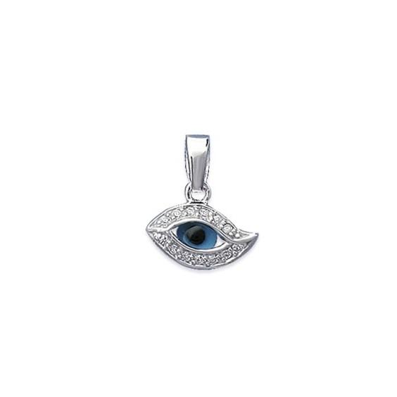 Pendentif Oeil bleu argent - La Petite Française