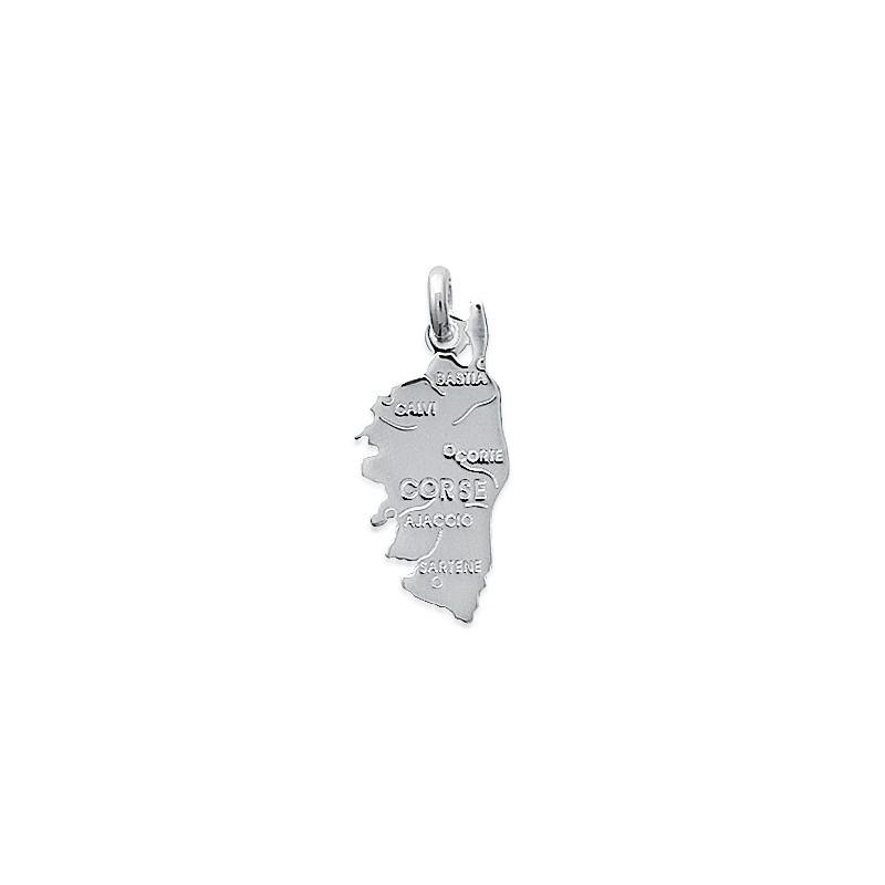 Pendentif carte Corse argent - La Petite Française