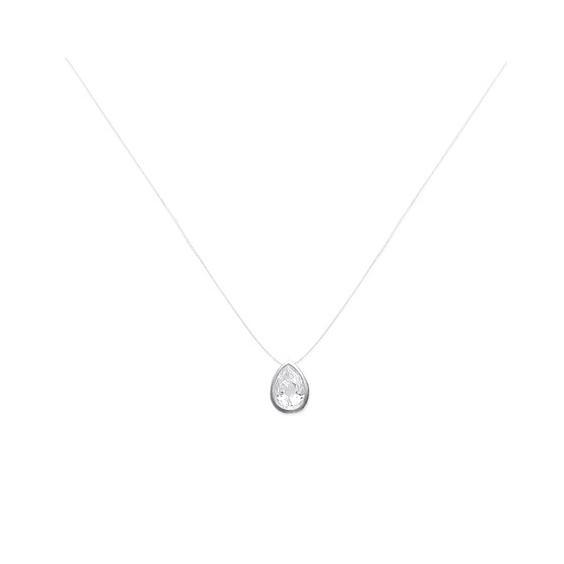 Collier fil transparent goutte zirconium argent - La Petite Française