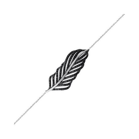 Bracelet plume argent et pierres noires - La Petite Française