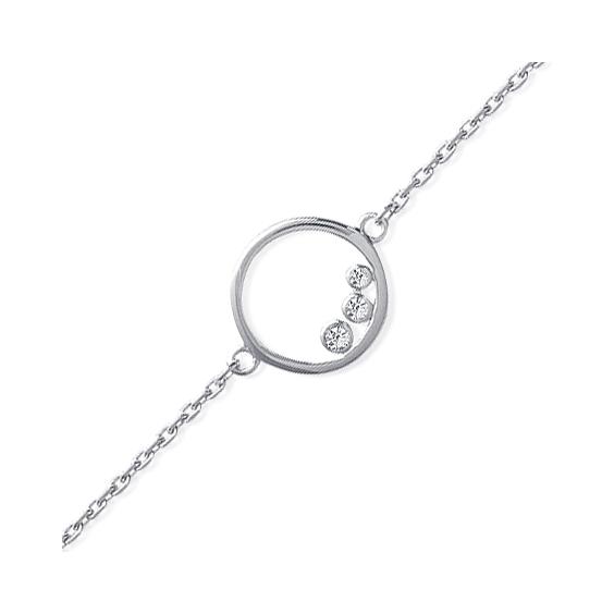 Bracelet anneau 3 zirconiums argent - La Petite Française