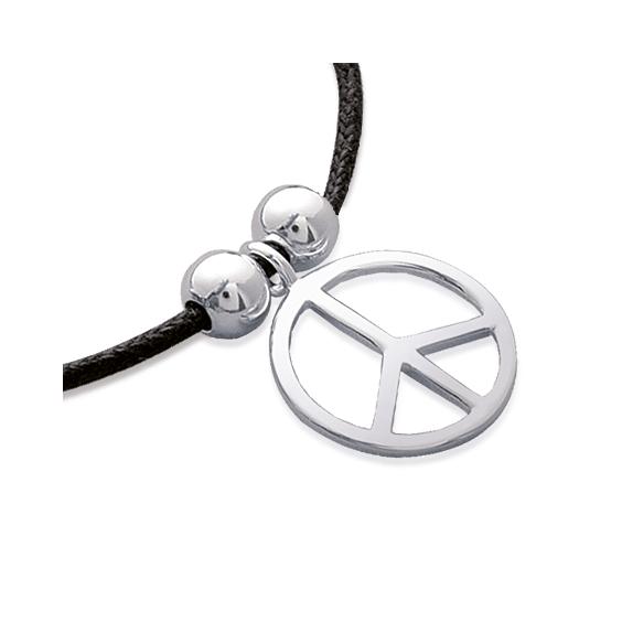 Bracelet Peace and Love argent sur cordon - La Petite Française
