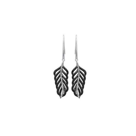 Boucles d'oreilles plume argent et pierres noires - La Petite Française