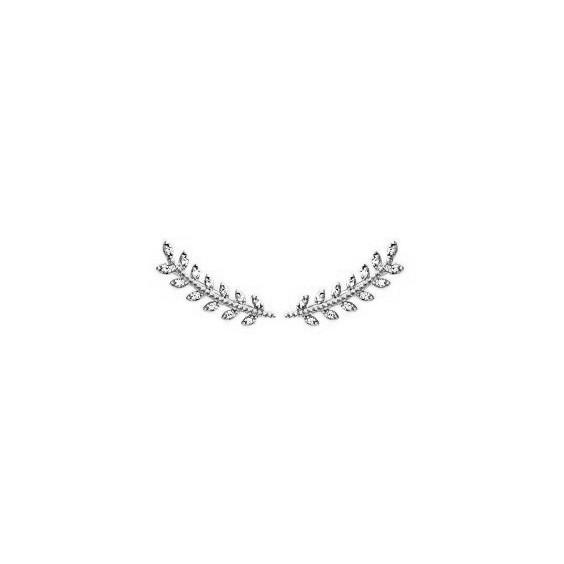 Contours d'oreilles laurier argent et zirconiums - La Petite Française