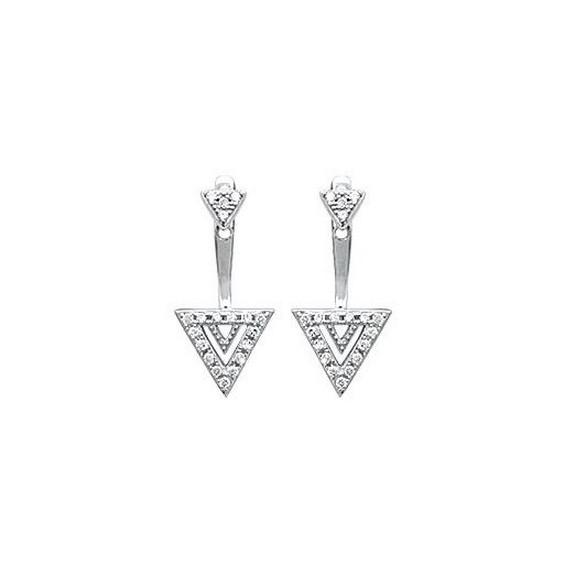 Bijoux lobes triangle argent et zirconiums - La Petite Française
