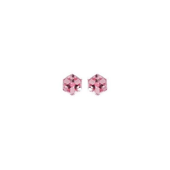Boucles d'oreilles Cristal rose argent - La Petite Française