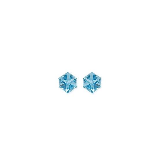Boucles d'oreilles Cristal bleu clair argent - La Petite Française