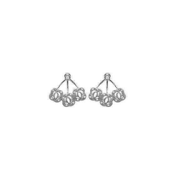Bijoux lobes d'oreilles tourbillons argent et zirconiums - La Petite Française