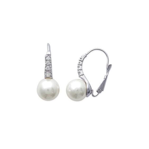 Boucles d'oreilles Teaki perle argent et zirconiums - La Petite Française