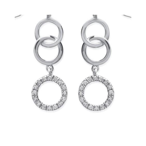 Boucles d'oreilles pendantes 3 cercles argent et zirconium - La Petite Française