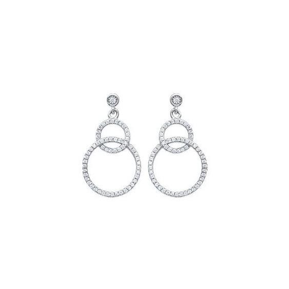 Boucles d'oreilles pendantes 2 cercles argent et zirconiums - La Petite Française