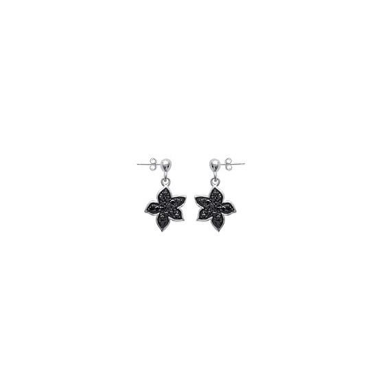Boucles d'oreilles pendantes fleur argent et strass noir - La Petite Française