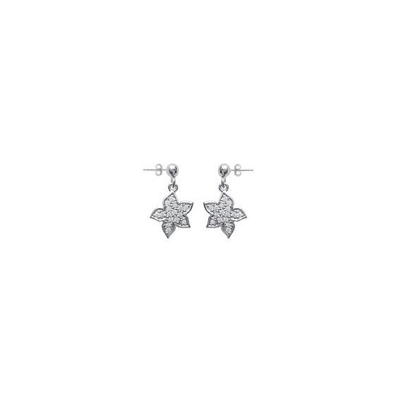 Boucles d'oreilles pendantes fleur argent et strass - La Petite Française