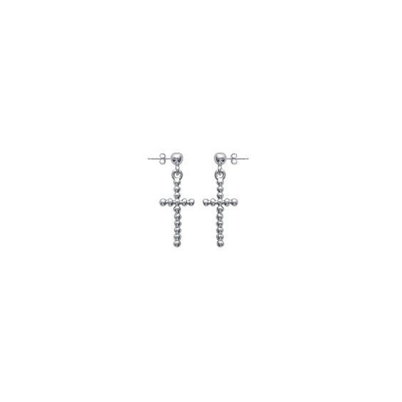 Boucles d'oreilles pendantes croix perlé argent - La Petite Française