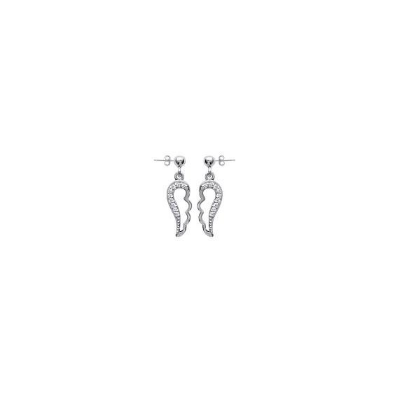 Boucles d'oreilles pendantes ailes d'ange argent strass - La Petite Française