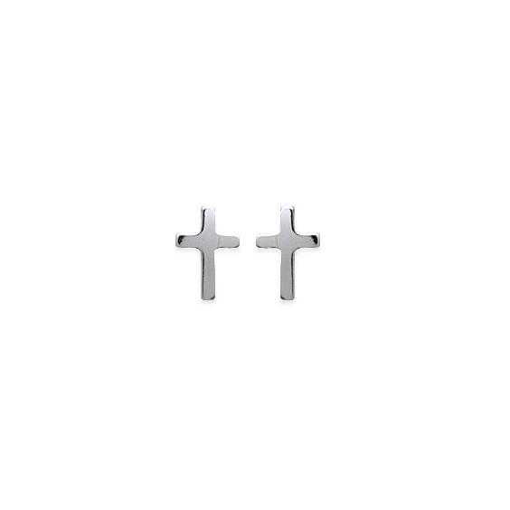 Boucles d'oreilles croix argent - La Petite Française