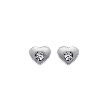 Boucles d'oreilles coeurs cristal argent - La Petite Française