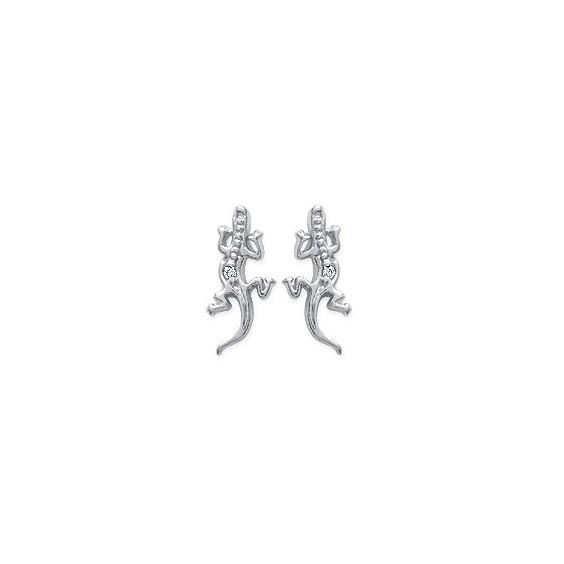 Boucles d'oreilles lézards strass argent - La Petite Française