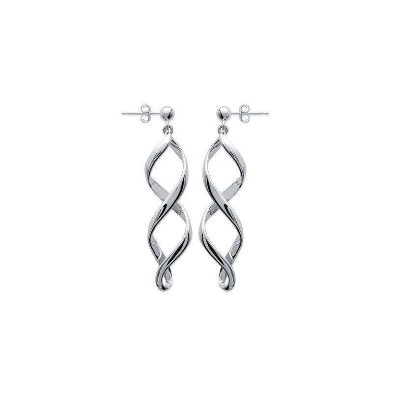 Boucles d'oreilles pendantes flammes argent - La Petite Française
