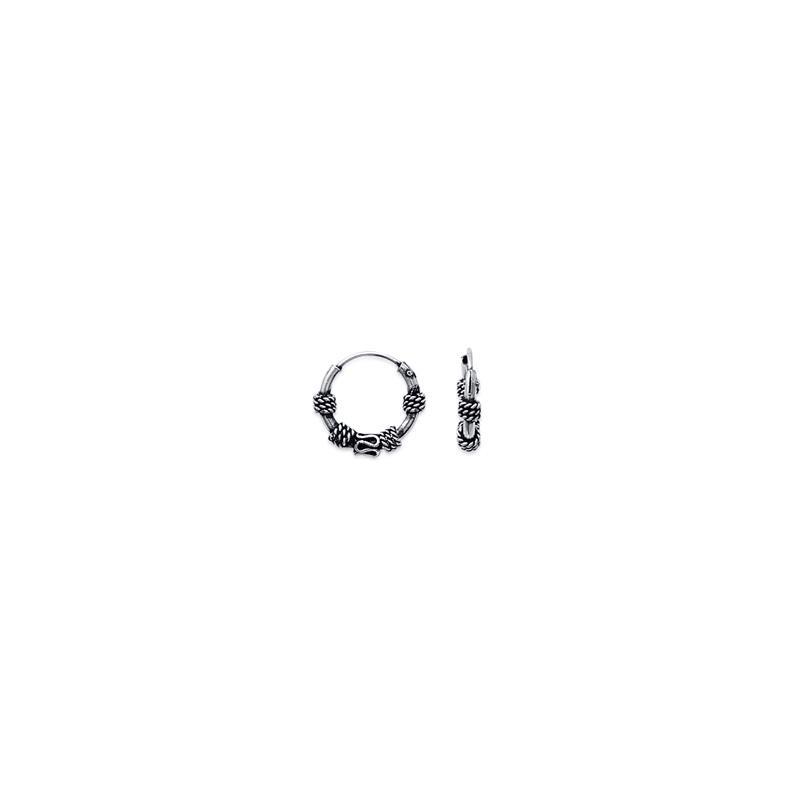 Créoles tribal ou Bali argent 4 cordages - 12 MM - La Petite Française