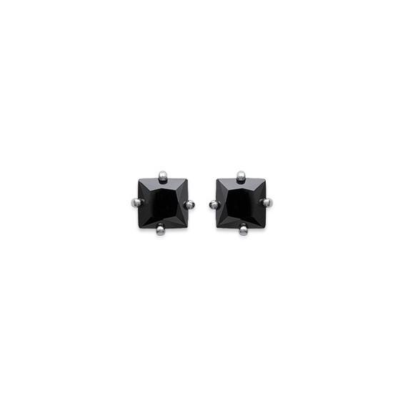 Boucles d'oreilles carrés noirs argent - La Petite Française