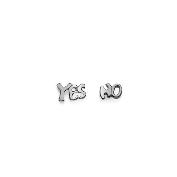Boucles d'oreilles argent yes et no argent - La Petite Française
