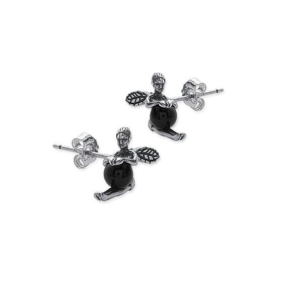 Boucles d'oreilles fées onyx argent - La Petite Française
