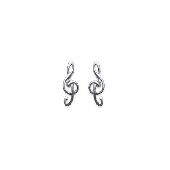 Boucles d'oreilles clé de sol argent - La Petite Française