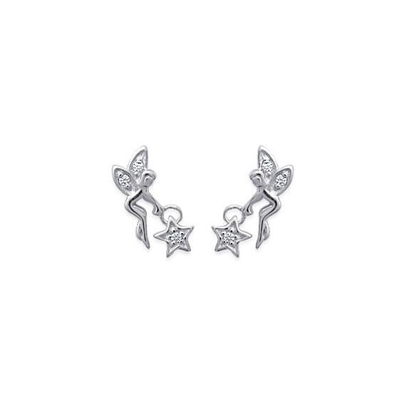 Boucles d'oreilles fée avec étoile argent et zirconiums - La Petite Française