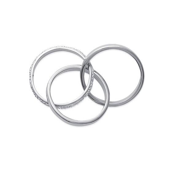 Alliance 3 anneaux strass argent - La Petite Française