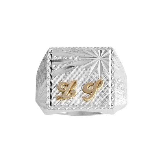 Chevalière argent, initiales Or 18 carats jaune - La Petite Française