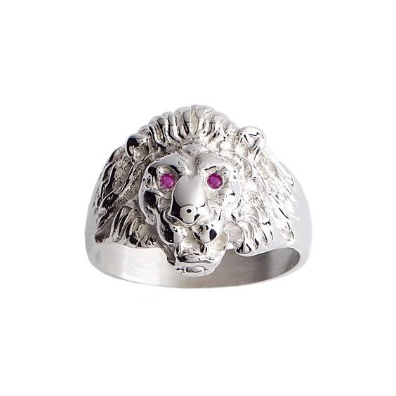 Chevalière lion rubis argent - La Petite Française