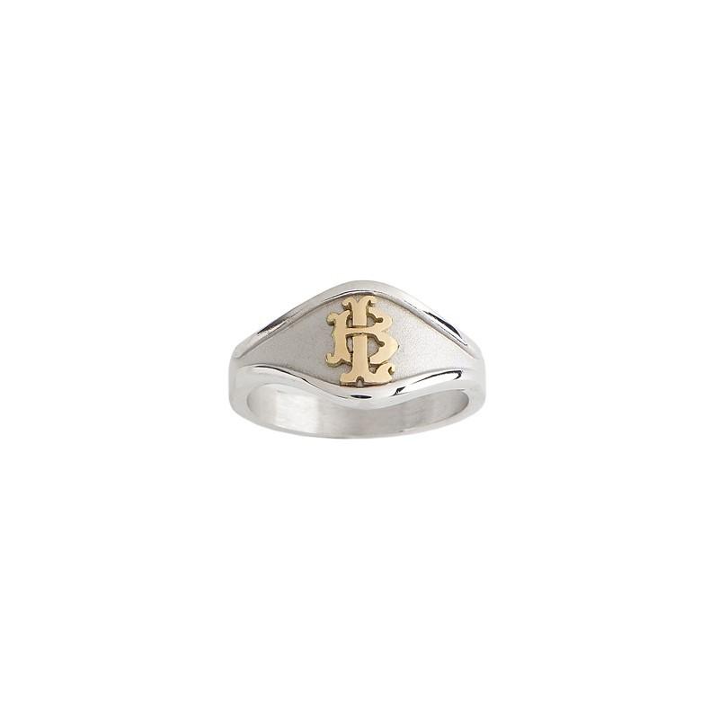 Chevalière argent, initiales or - La Petite Française