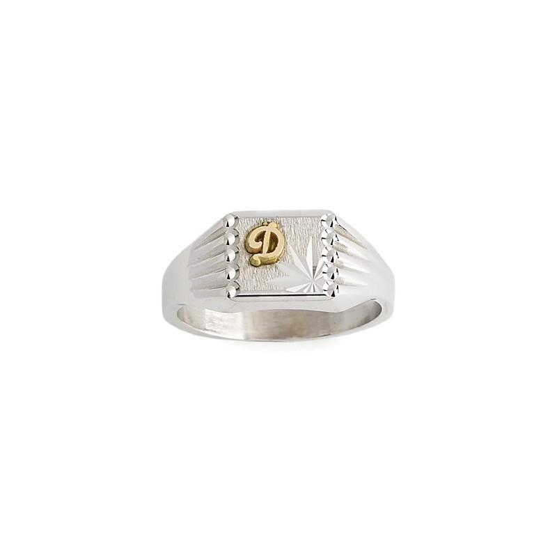 Chevalière Ionel argent et initiale or 18 carats jaune - La Petite Française