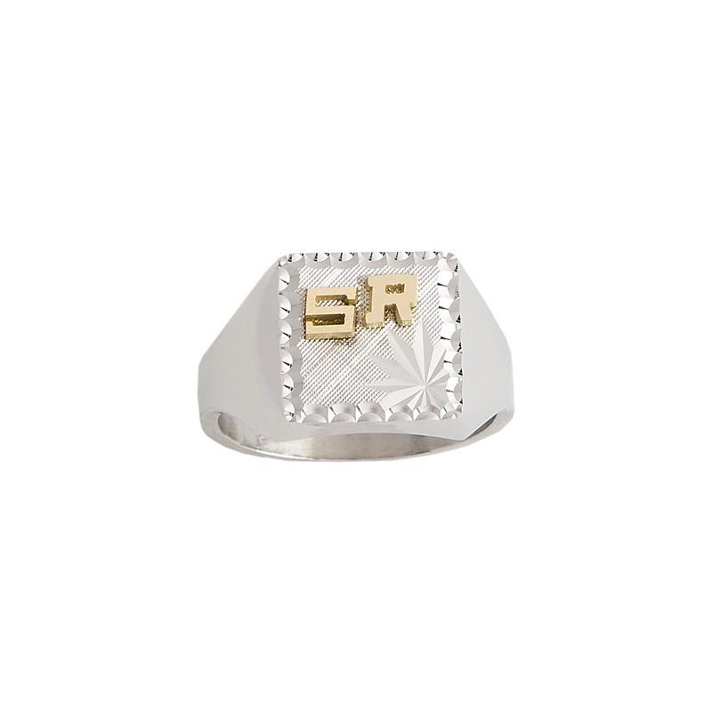 Chevalière Nelvil argent et initiales or 18 carats jaune - La Petite Française