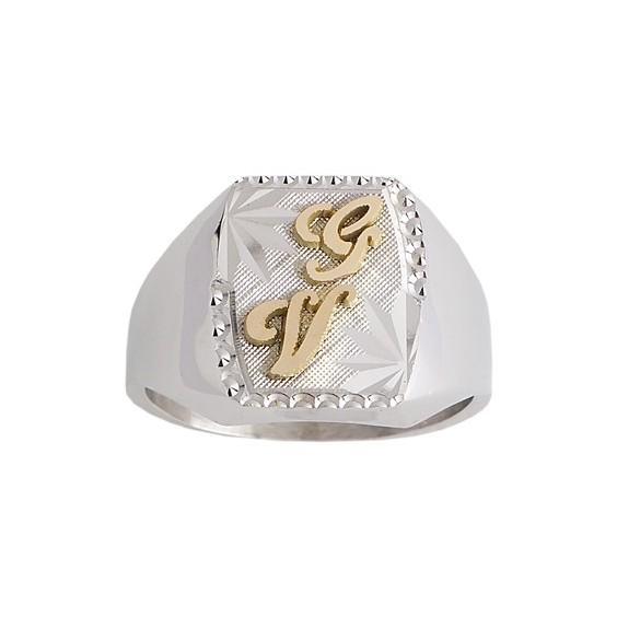 Chevalière Herméus argent et initiales or 18 carats jaune - La Petite Française