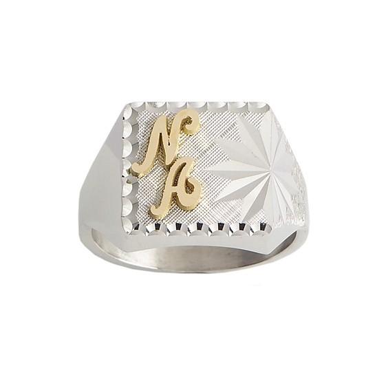 Chevalière Aldinien argent, initiales Or 18 carats jaune - La Petite Française