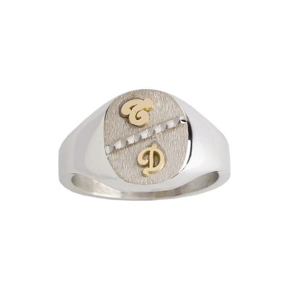Chevalière Rafael argent, initiales Or 18 carats jaune - La Petite Française