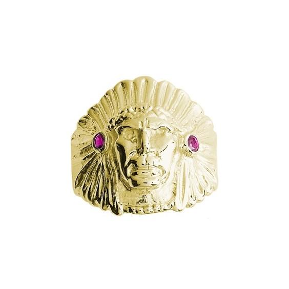 Chevalière chef d'Amérindien rubis argent - La Petite Française