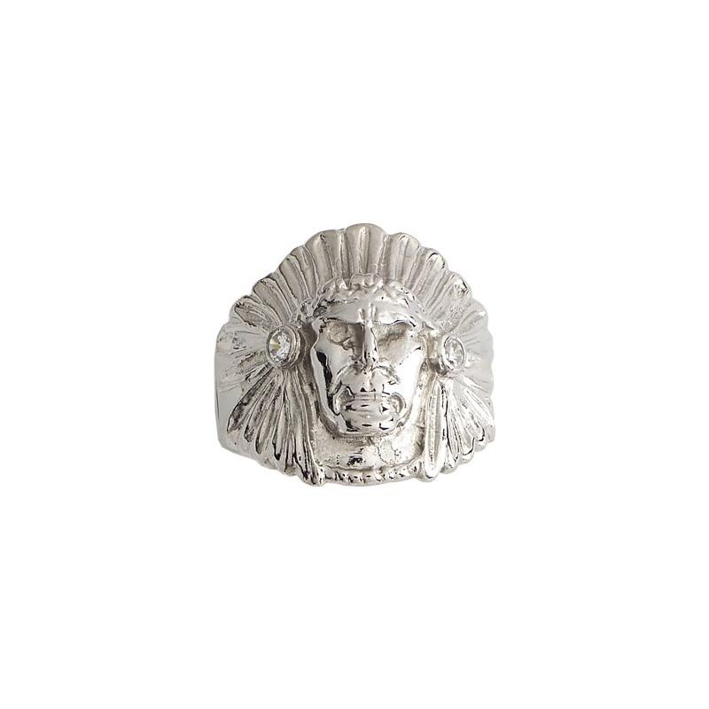 Chevalière chef Amérindien zirconium argent - La Petite Française