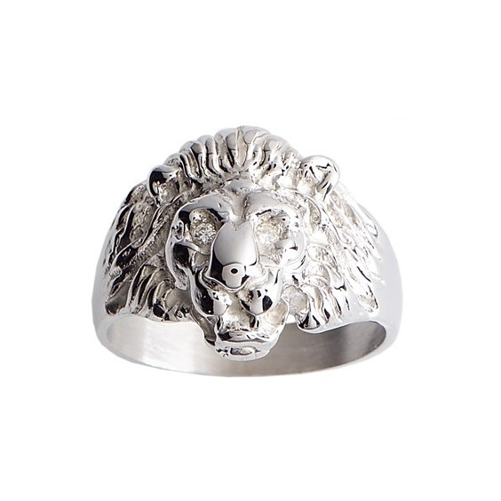 Chevalière lion yeux diamants argent - La Petite Française